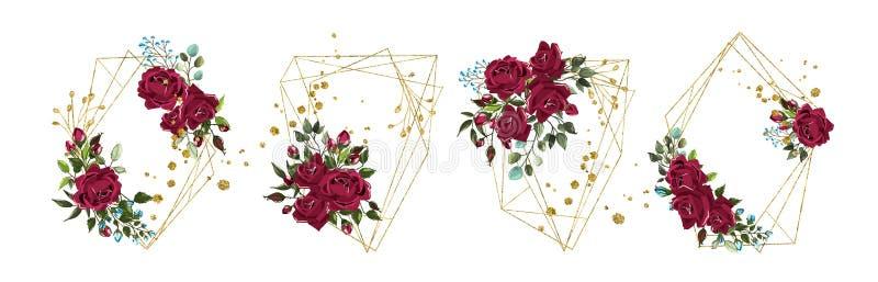 Huwelijks bloemen gouden geometrisch driehoekig kader met de rozen van bordobloemen royalty-vrije illustratie