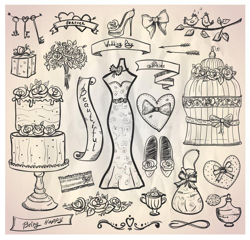 Huwelijks bruids grafische reeks. stock illustratie