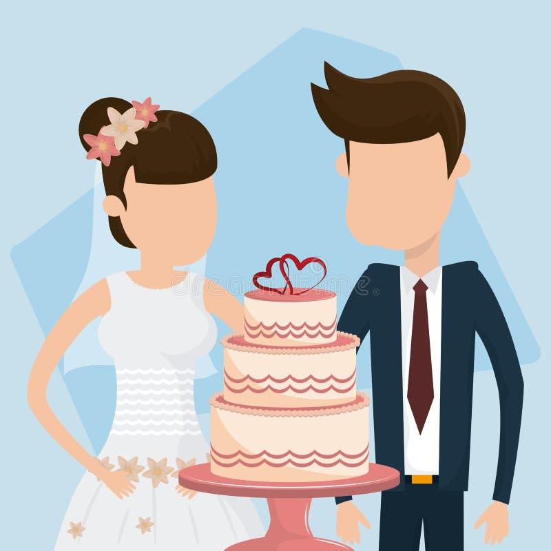 Huwelijks enkel gehuwd kaart vector illustratie