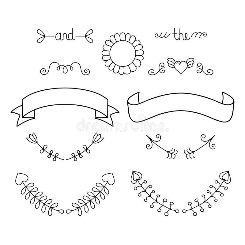 Huwelijks grafische reeks met pijl, hart, laurier, kroon enz. Vector kalligrafische ontwerpelementen en paginadecoratie royalty-vrije illustratie