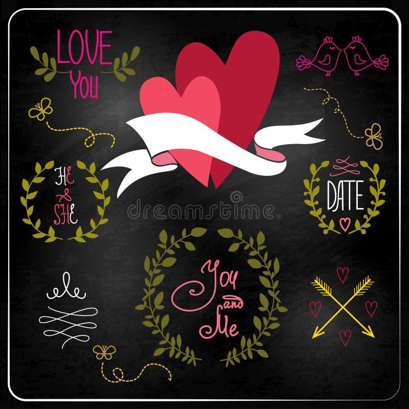 Huwelijks grafische reeks op bord. vector illustratie