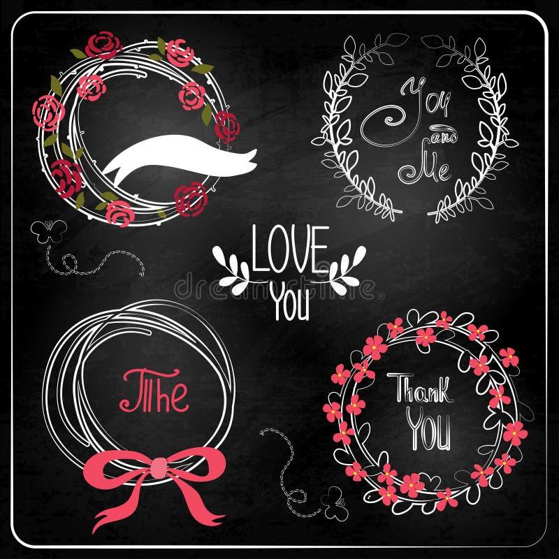 Huwelijks grafische reeks op bord. stock illustratie