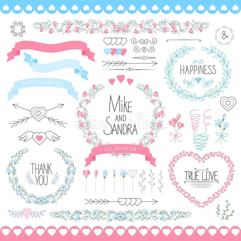 Huwelijks grafische reeks, pijlen, harten, laurier, kronen, linten en etiketten royalty-vrije illustratie