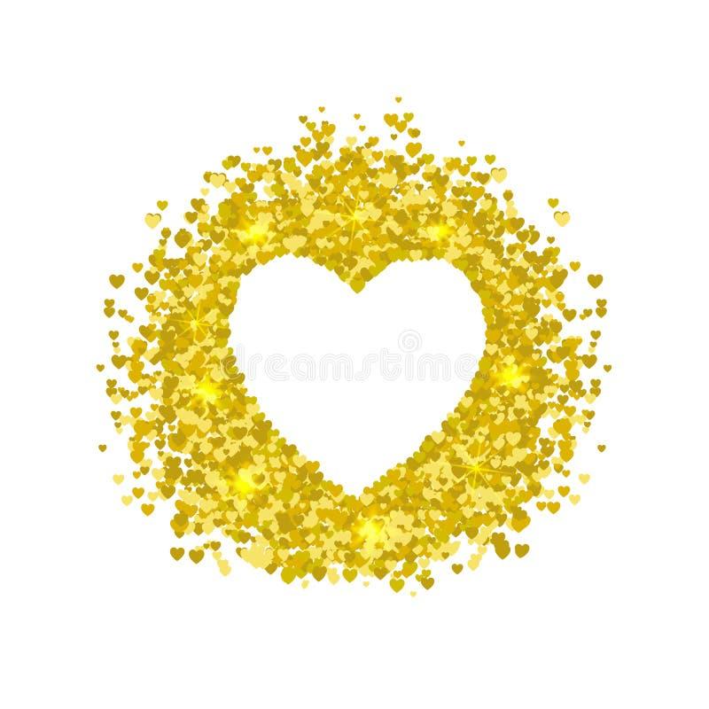 Huwelijks Lege Kaart: Het Kader van de hartvorm, Kleine Glanzende die Harten, op Witte Achtergrond worden geïsoleerd stock illustratie