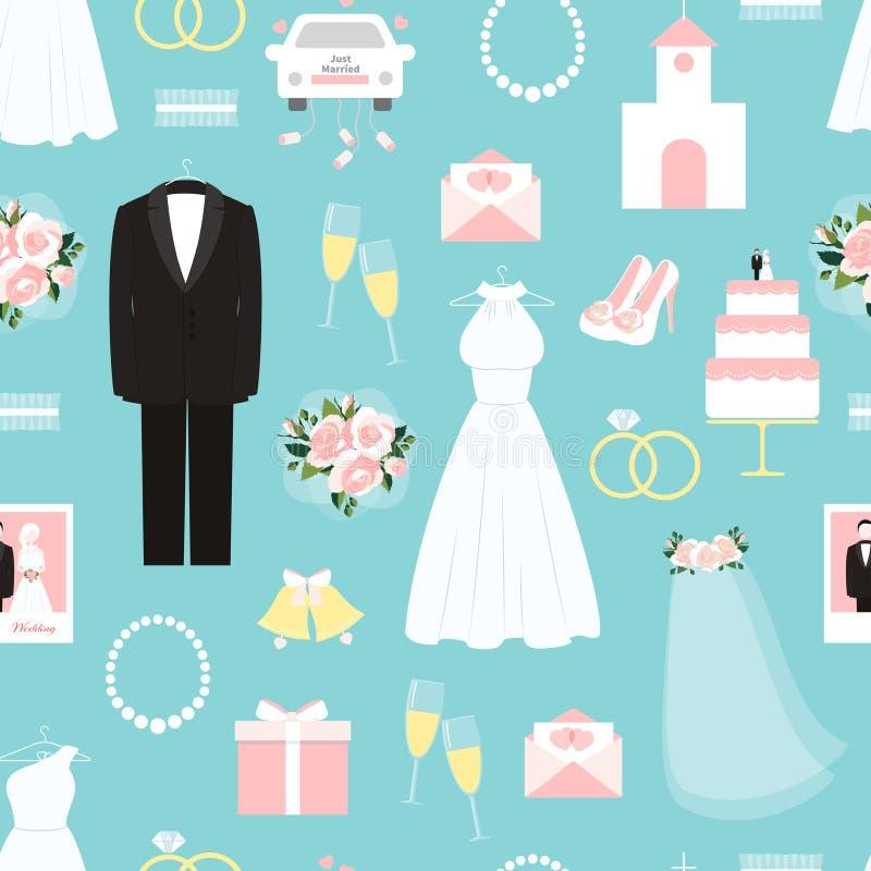 Huwelijks naadloos patroon als achtergrond vector illustratie