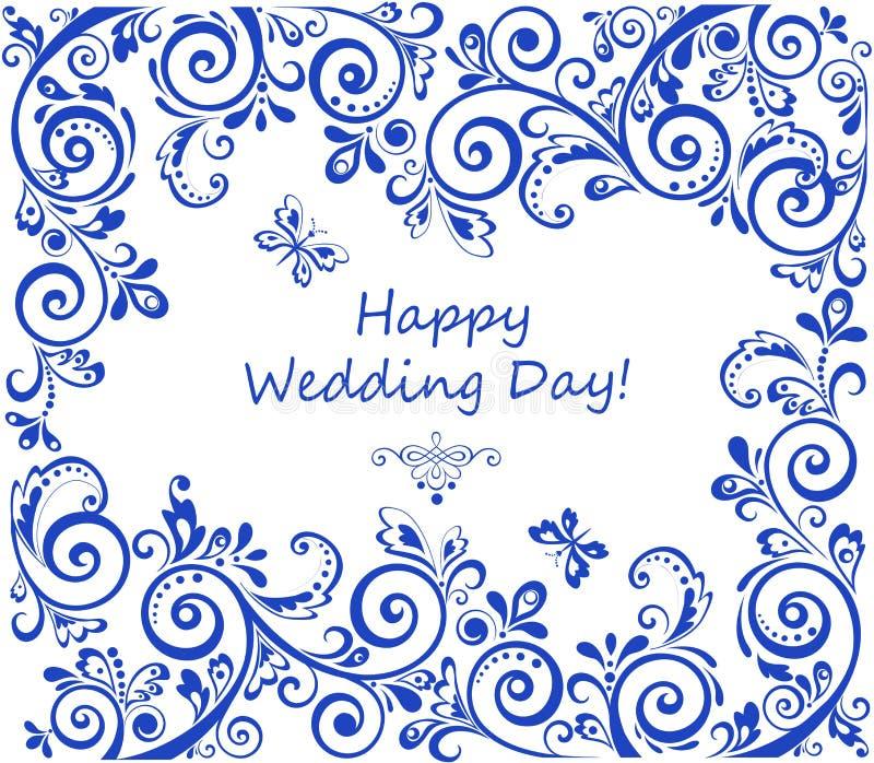 Huwelijks retro uitnodiging met blauw bloemen abstract patroon royalty-vrije illustratie