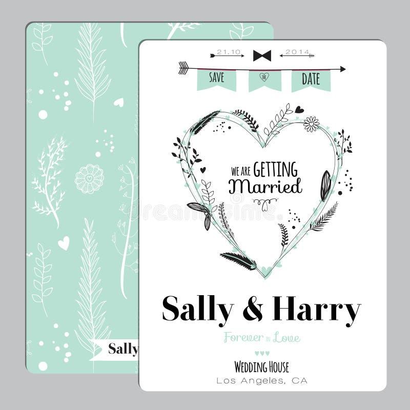 Huwelijks romantische bloemen sparen de Datumuitnodiging stock illustratie