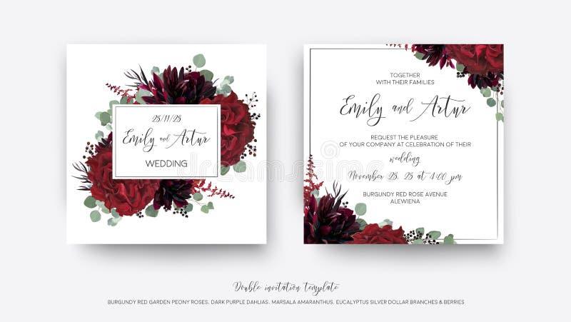 Huwelijks vector nodigt Bloemen, uitnodiging sparen mod. van de datumkaart uit stock illustratie