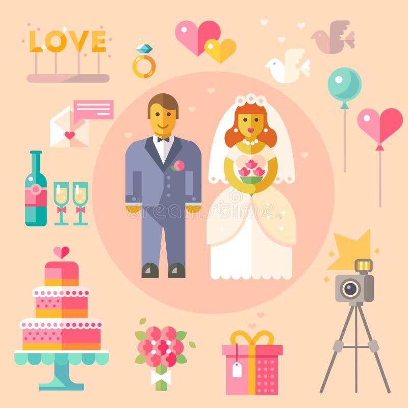 Huwelijks vector vlakke illustratie vector illustratie