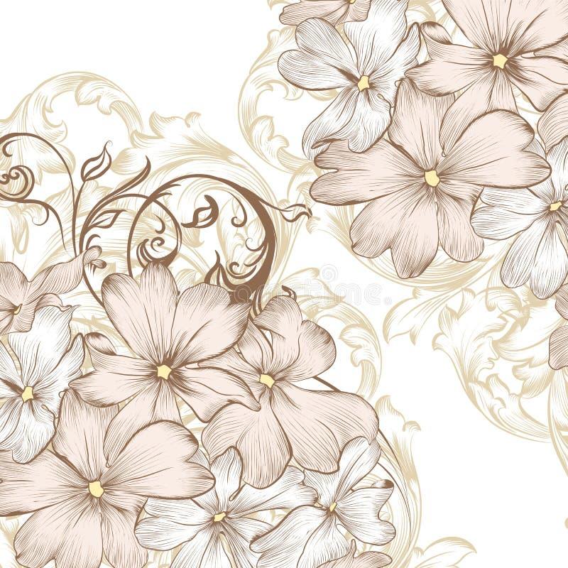 Huwelijks vectorachtergrond met hand getrokken gestileerde bloemen in Re stock illustratie