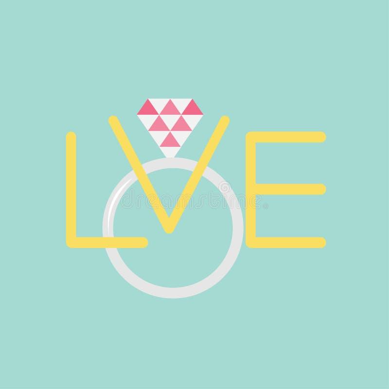 Huwelijks zilveren ring met veelhoekige roze diamant Word liefde Vlak ontwerp stock illustratie
