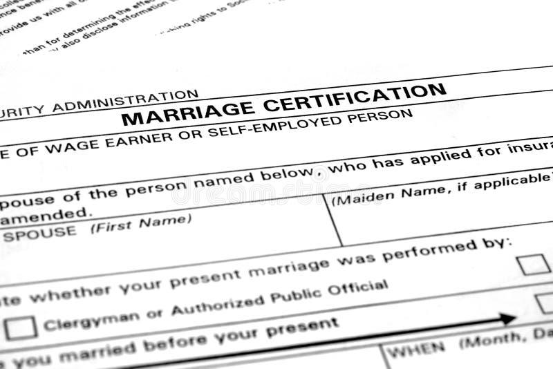 Huwelijksakte Certificatieadministratie voor Nuptials royalty-vrije stock foto's
