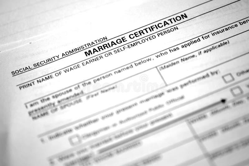 Huwelijksakte Certificatieadministratie voor Nuptials royalty-vrije stock afbeelding