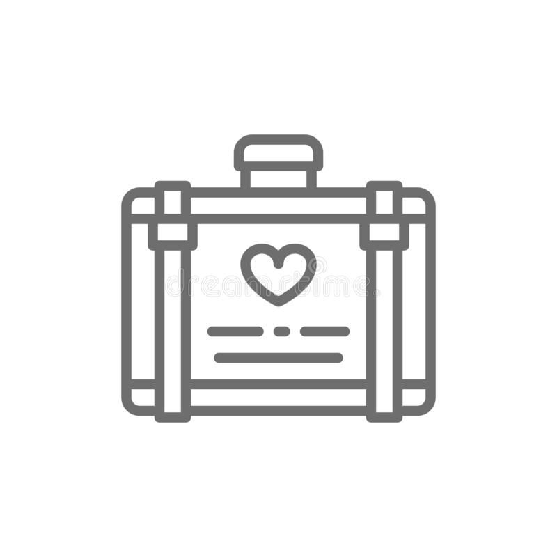 Huwelijksbagage, koffer voor het pictogram van de wittebroodswekenlijn royalty-vrije illustratie