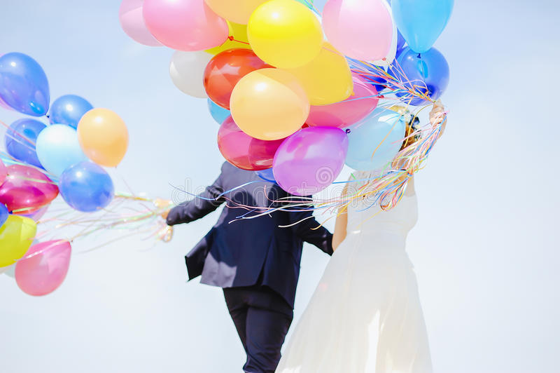 Huwelijksballons stock foto