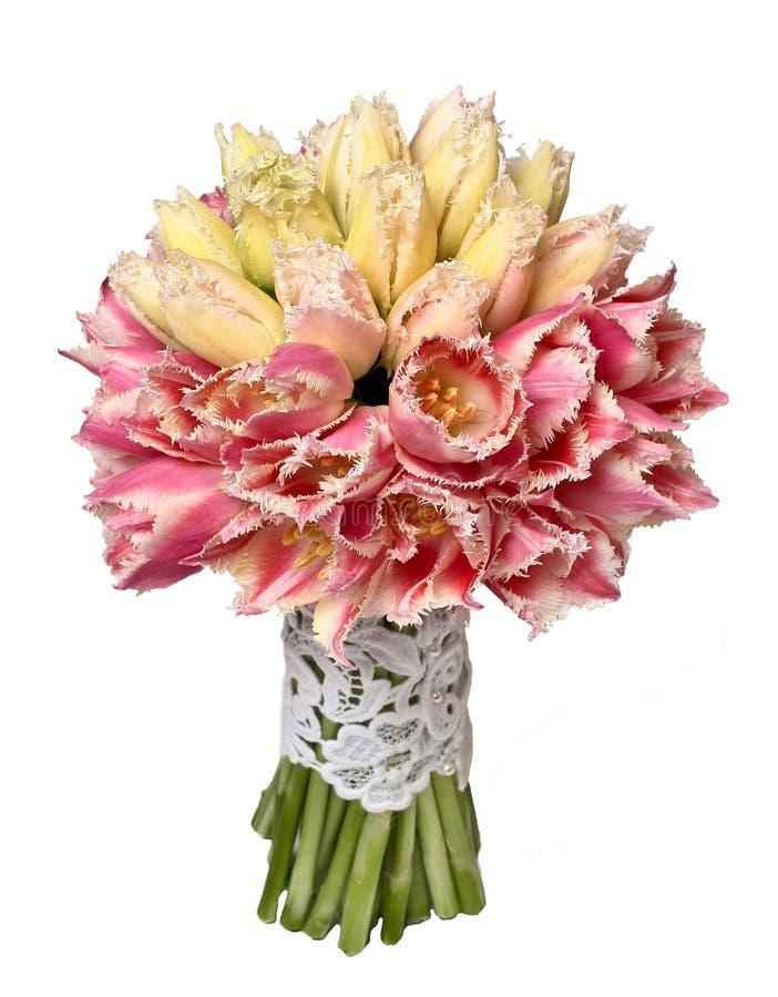 Huwelijksboeket van gele en roze tulpen royalty-vrije stock afbeeldingen
