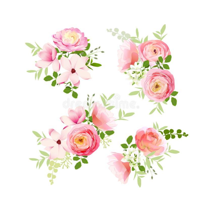 Huwelijksboeketten van rozen, magnolia, ranunculus vectorontwerp royalty-vrije illustratie