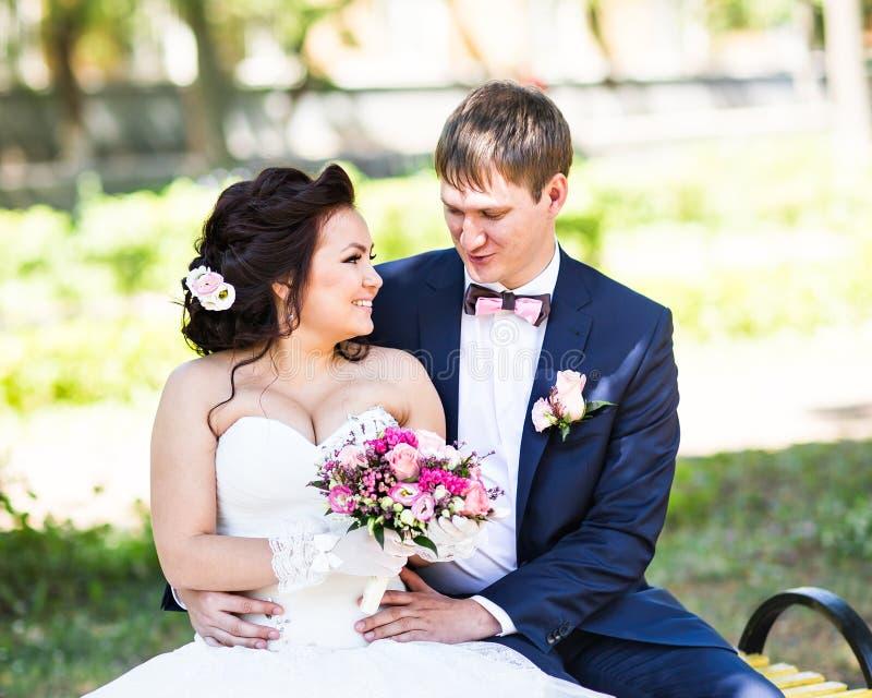 Huwelijksbruid en bruidegom op een bank met het landschapsachtergrond van het aardlandschap royalty-vrije stock foto