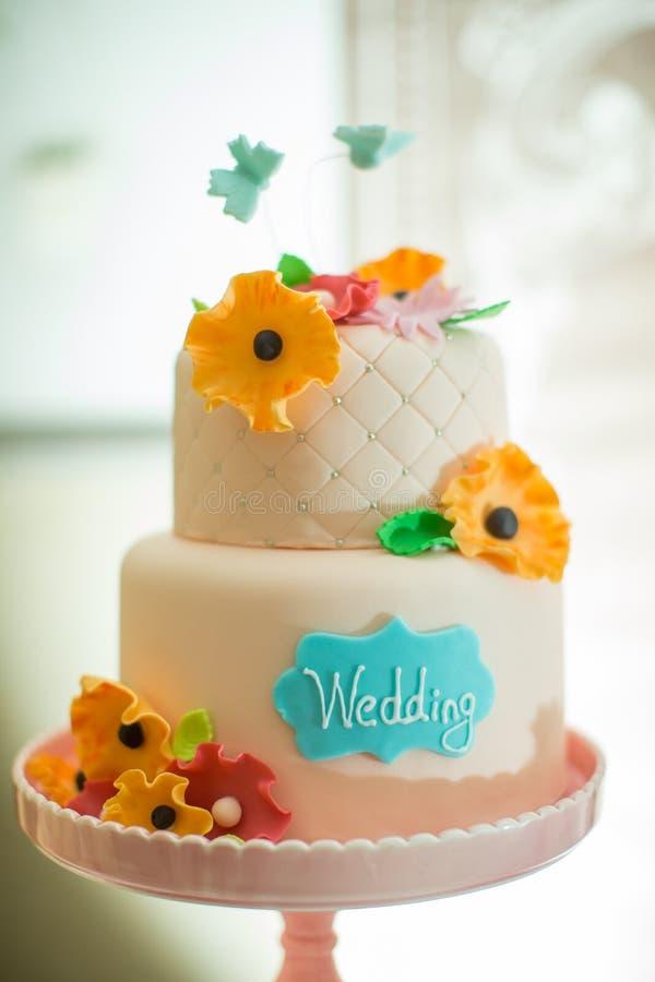 Huwelijkscake stock foto's