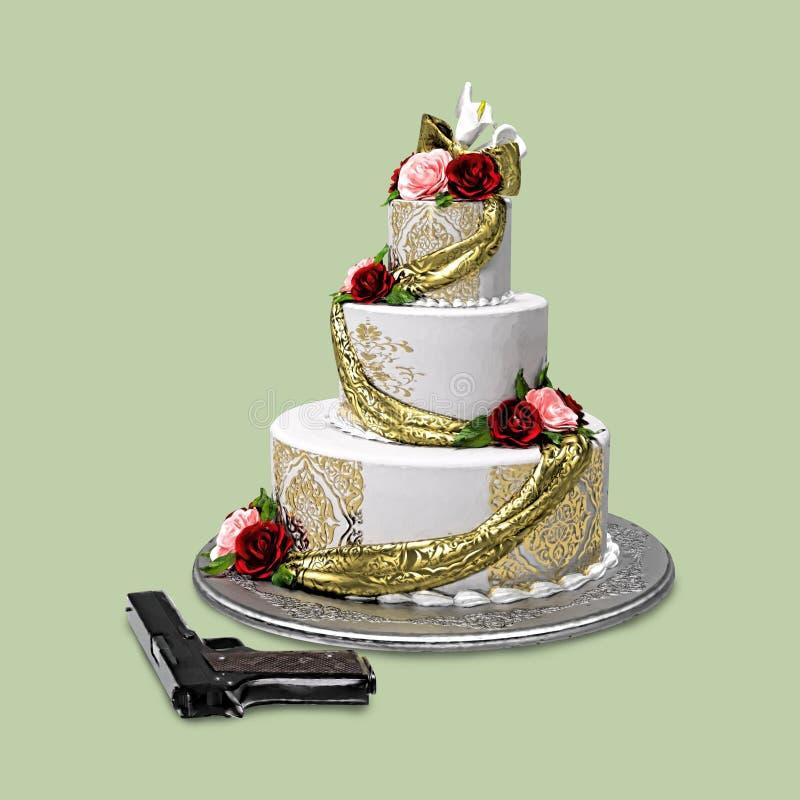 Huwelijkscake en Kanon stock illustratie