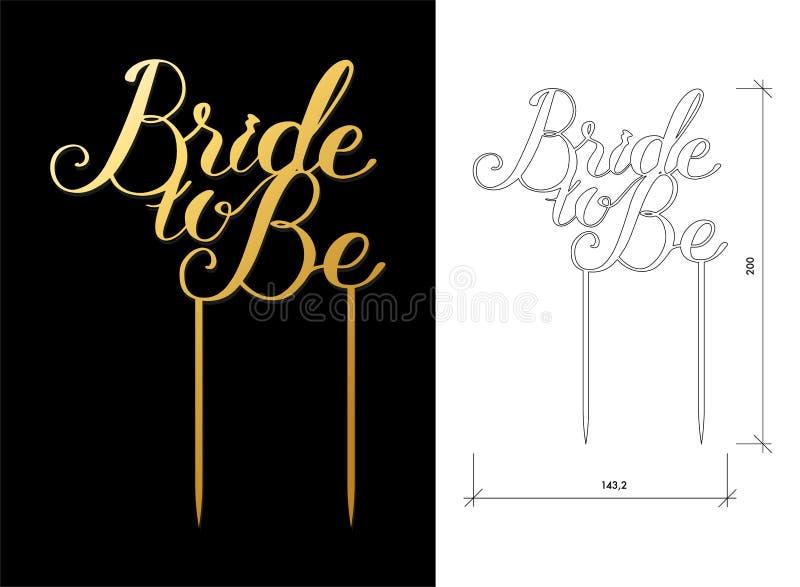 Huwelijkscake topper vector illustratie