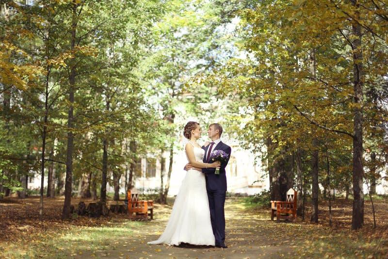 Huwelijksfoto van bruid en bruidegom stock foto's
