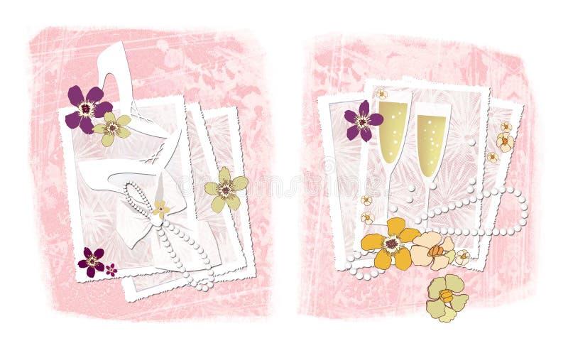 Huwelijksfotografie Twee illustraties op het thema van huwelijksfotografie: openwork kaders voor foto's met huwelijksaccessori stock illustratie