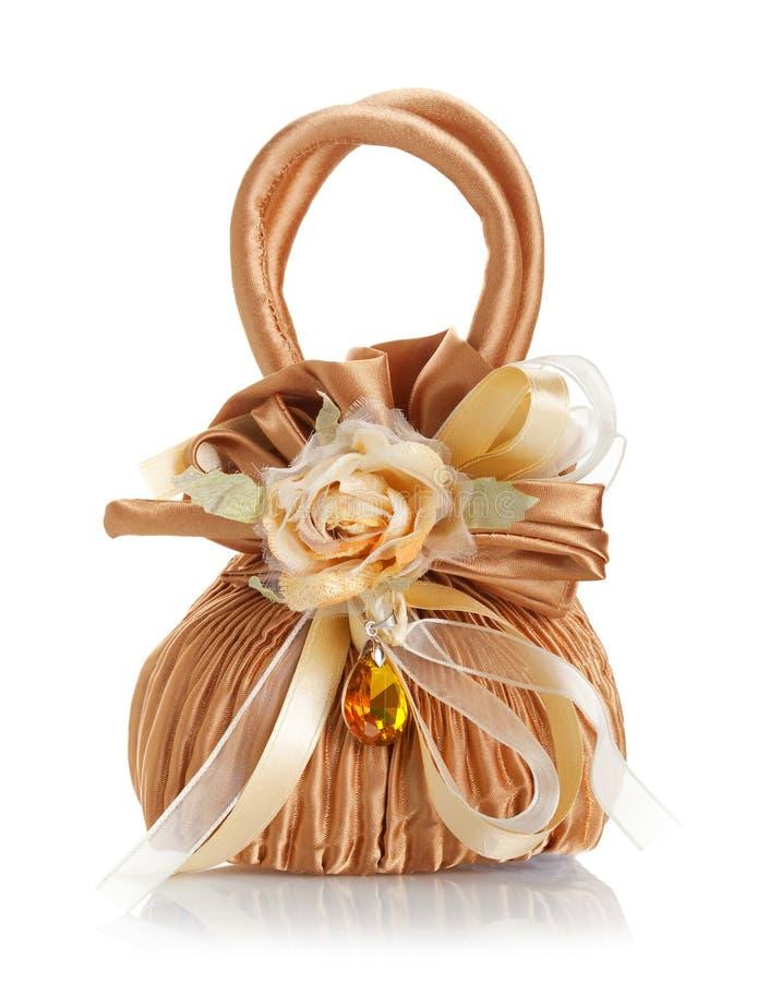 Huwelijksgunst gevormde zak met amber stock afbeeldingen