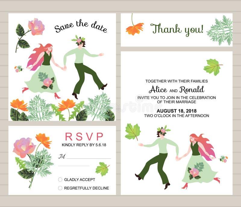 Huwelijksinzameling Reeks uitnodigingskaarten met mooie bruid en bruidegom en bloemen royalty-vrije illustratie