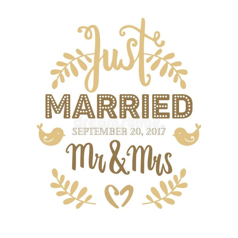 Huwelijkskaart hand het getrokken vector gouden van letters voorzien met installaties, vogels en harten Enkel gehuwd, M. & Mevr. royalty-vrije illustratie