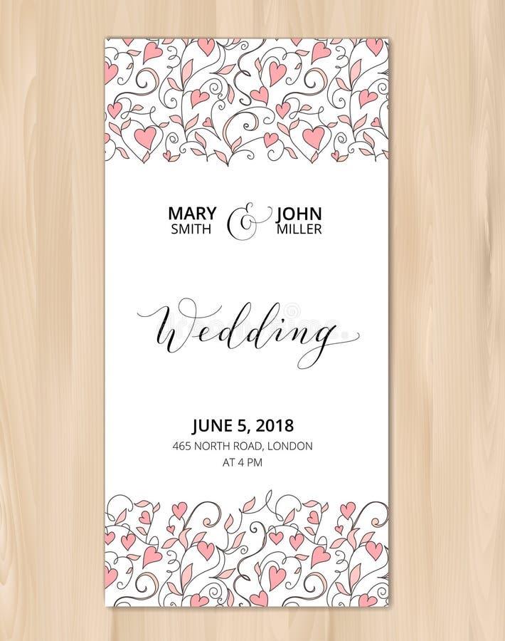 Huwelijkskaart met de achtergrond van het hartenpatroon, uitnodigingsmalplaatje Hand geschreven douanekalligrafie stock afbeelding