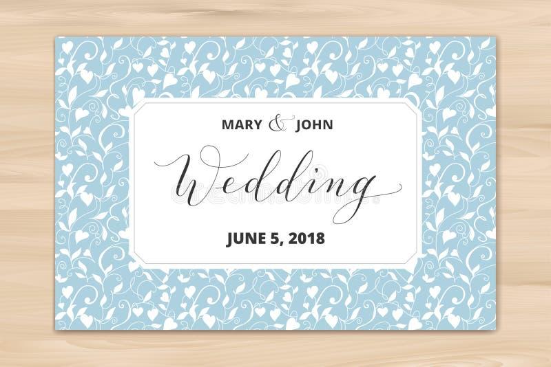 Huwelijkskaart met de achtergrond van het hartenpatroon, uitnodigingsmalplaatje Hand geschreven douanekalligrafie stock foto