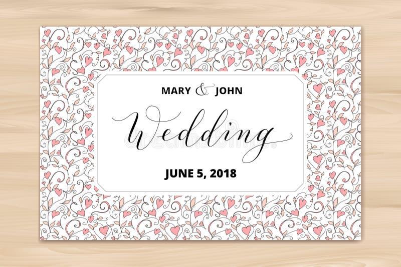 Huwelijkskaart met de achtergrond van het hartenpatroon, uitnodigingsmalplaatje Hand geschreven douanekalligrafie royalty-vrije stock afbeeldingen