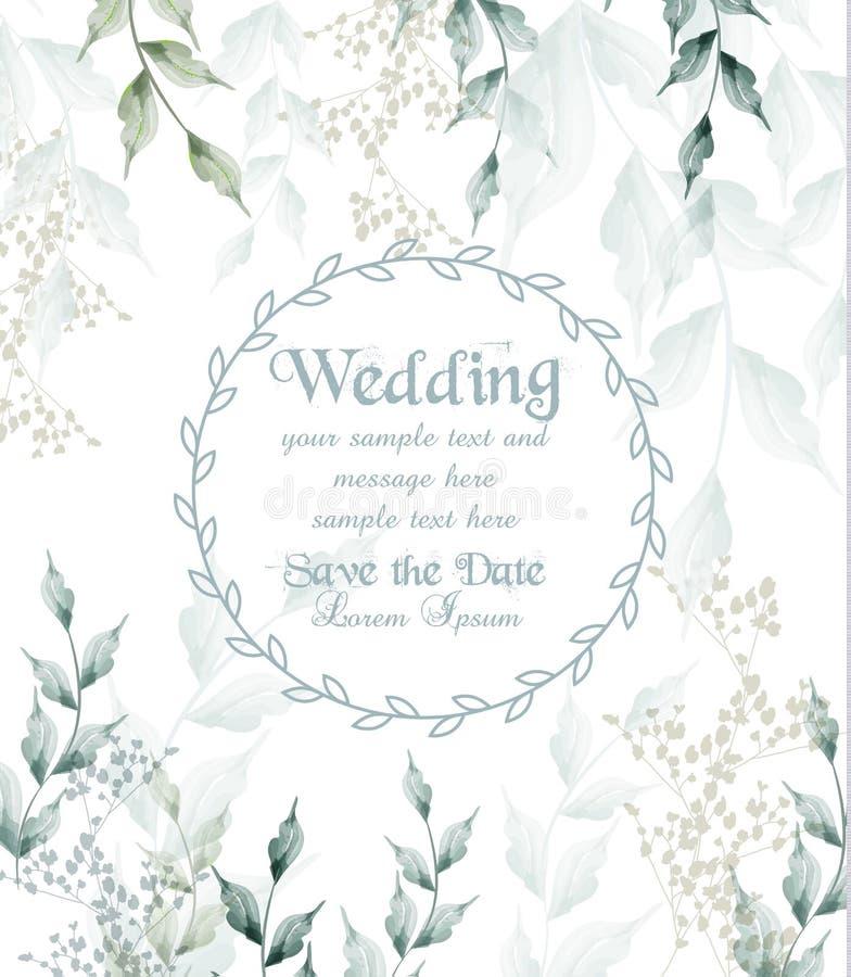 Huwelijkskaart om groene de bladerenvector van de kaderwaterverf royalty-vrije illustratie