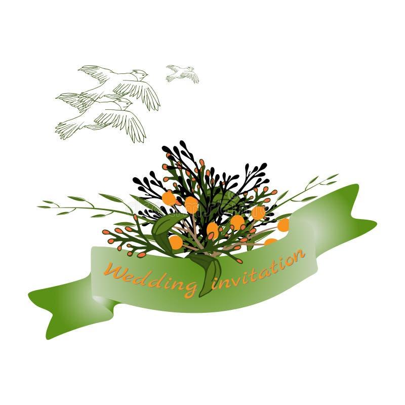 Huwelijkskaarten, de bloemenelementen van het huwelijksontwerp van bloemen, bladeren en takken vector illustratie