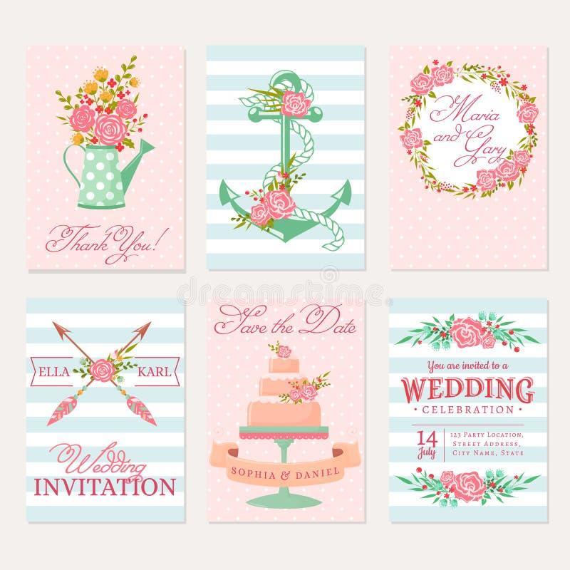 Huwelijkskaarten en uitnodigingen royalty-vrije illustratie