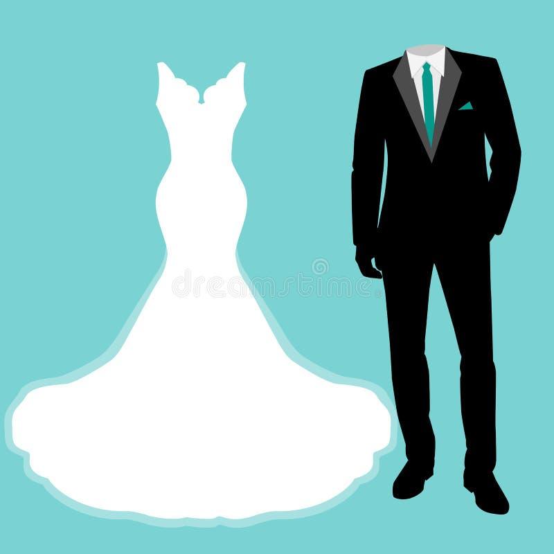 Huwelijkskleding en smoking vector illustratie