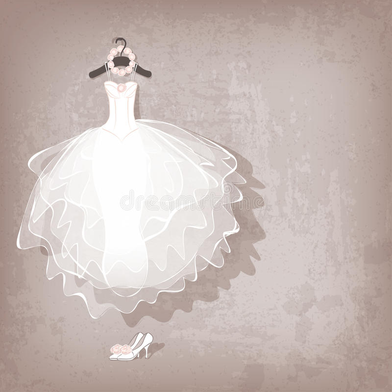 Huwelijkskleding op grungy achtergrond royalty-vrije illustratie