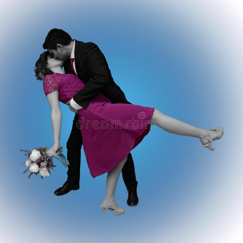 Huwelijkskus op blauw vector illustratie