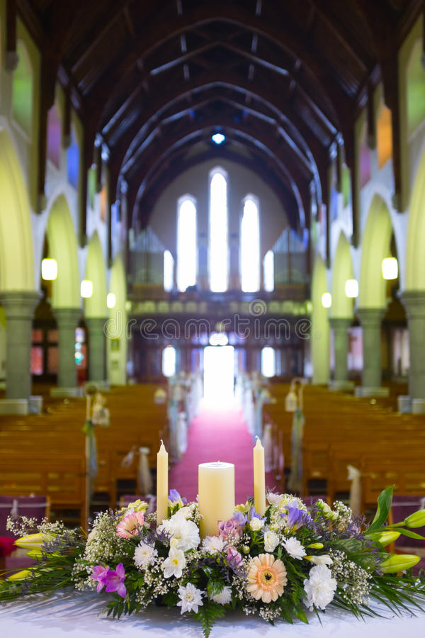 Huwelijksopstelling in Kerk ierland royalty-vrije stock afbeelding