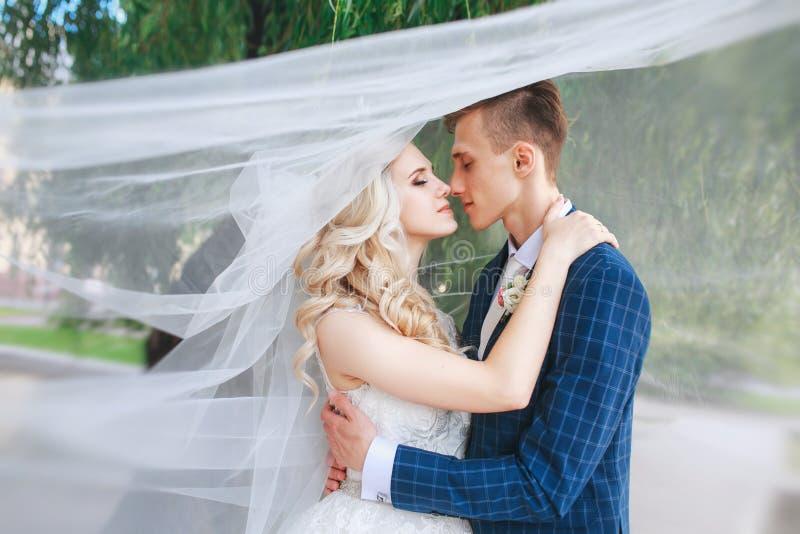 Huwelijkspaar die behandelde sluier kussen Koestert het huwelijks romantische paar elkaar Schoonheidsbruid met bruidegom stock fotografie
