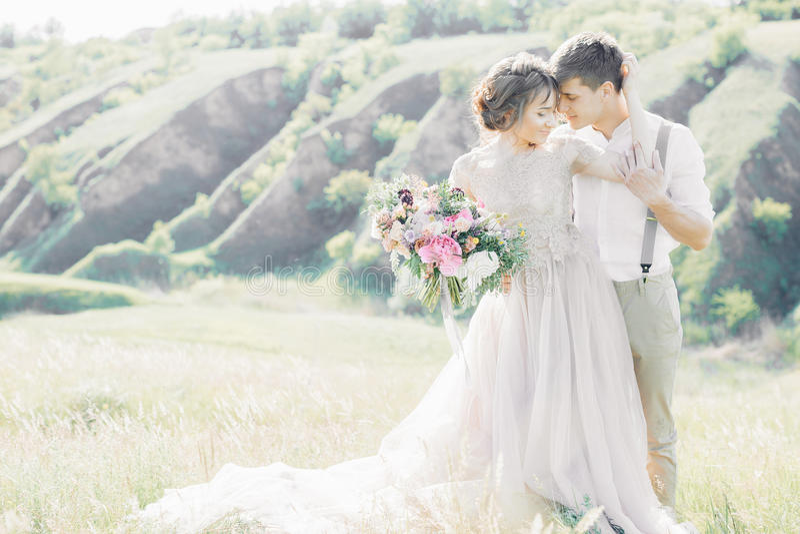 Huwelijkspaar op aard bruid en bruidegom die bij huwelijk koesteren royalty-vrije stock afbeelding