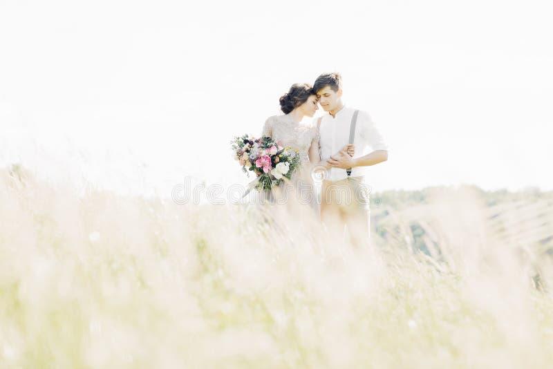 Huwelijkspaar op aard bruid en bruidegom die bij huwelijk koesteren royalty-vrije stock foto's