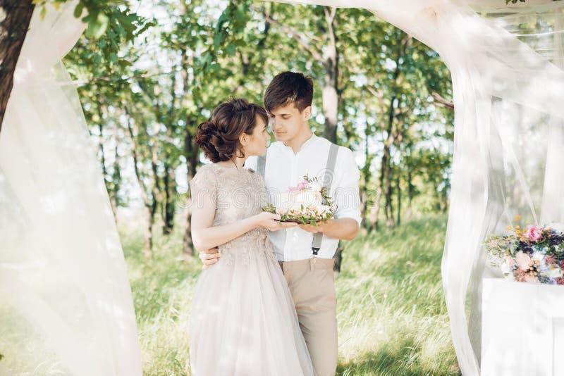 Huwelijkspaar op aard de bruid en de bruidegom met cake bij huwelijk royalty-vrije stock fotografie
