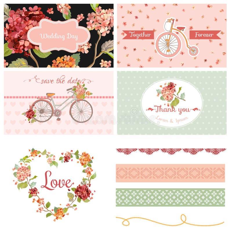 Huwelijkspartij Hortensia Flowers en Fietsthema vector illustratie