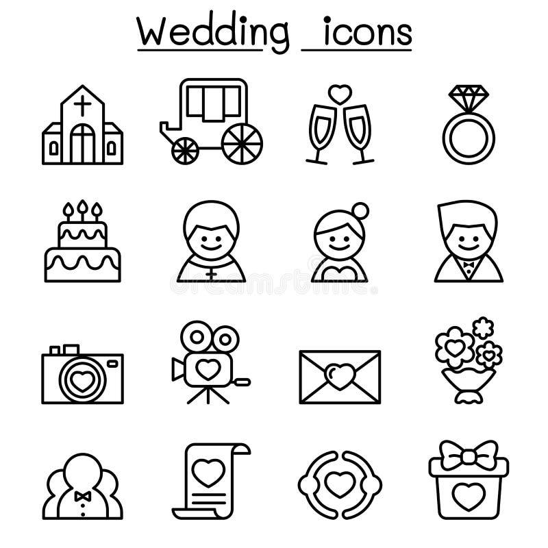 Huwelijkspictogram in dun vector de illustratie grafisch ontwerp dat van de lijnstijl wordt geplaatst stock illustratie