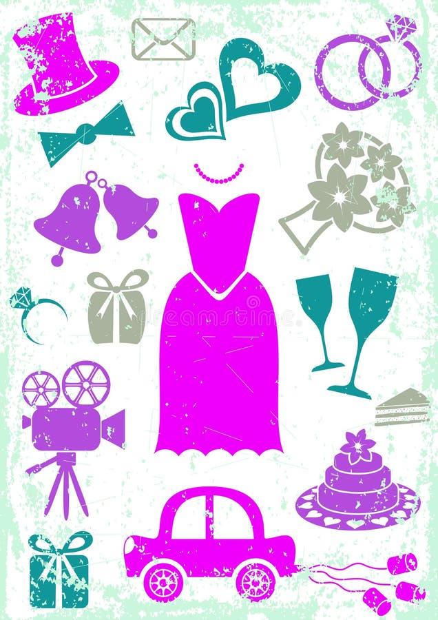 Huwelijkspictogrammen vector illustratie