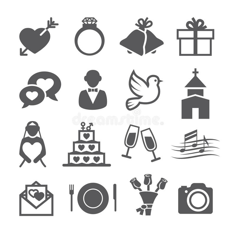 Huwelijkspictogrammen royalty-vrije illustratie