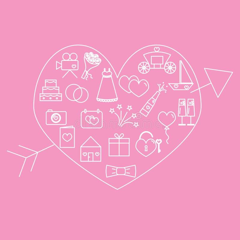 Huwelijkspictogrammen Huwelijkspictogrammen binnen het hart op een roze achtergrond worden gevestigd die royalty-vrije illustratie