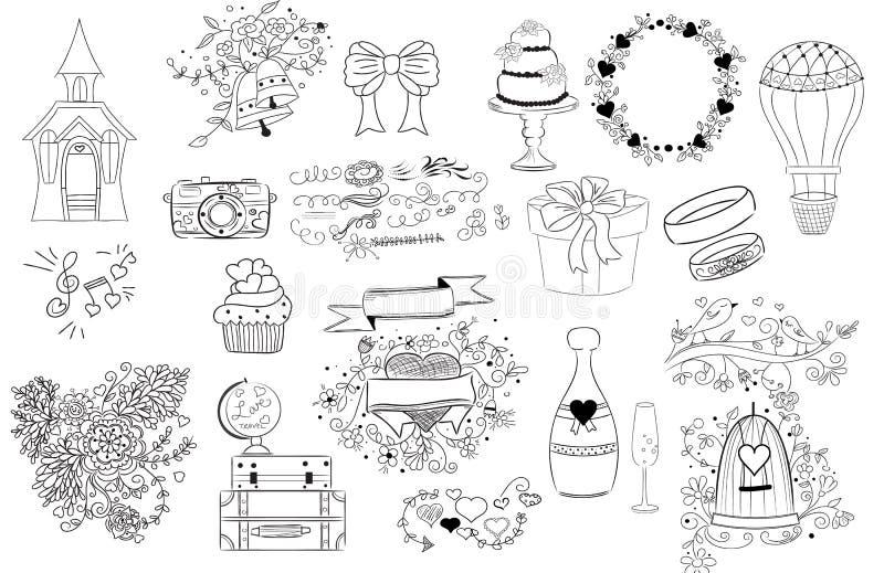 Huwelijkspictogrammen, krabbelillustraties vector illustratie